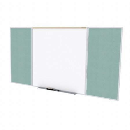 Ghent SPC410D-V-199 4 ft. x 10 ft. Style D Combination Unit - Porcelain Magnetic Whiteboard and Vinyl Fabric Tackboard - Stone by Ghent