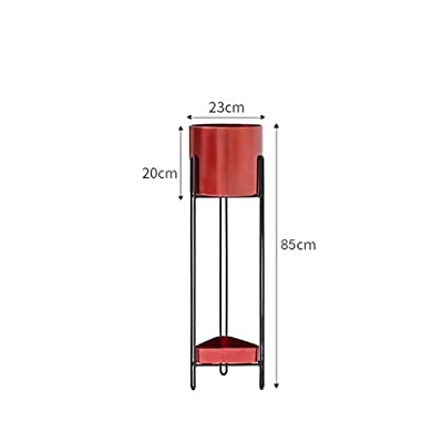 LRW Nordic Style Red Wrought Iron Floor-Standing Flower Stand Balcony Multi-Level Indoor Living Room Modern Flower Pot Flower Stand (Size : L): Garden & Outdoor