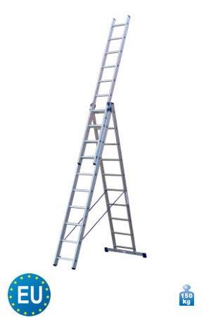 3-teilige Aluminium Mehrzweck und Kombileiter 3 x 10 Stufen