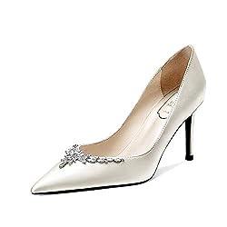 White Pointed Closed Toe Rhinestone Wedding Shoes