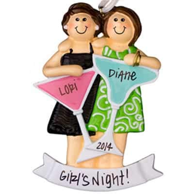 Party Girls (2) Night Out Personalized Ornament - (Unique Christmas Tree Ornament - Classic Decor for A Holiday Party - Custom Decorations for Family Kids Baby Military Sports Or Pets) (Ornament Girl 2)
