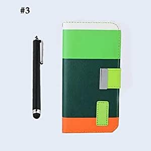 Zaki Rainbow PU Leather Full Body Cover with Wallet and Card Slot and Stand for iPhone 6 with Touch Pen (Assorted Colors) , 1