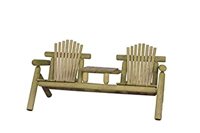 Rustic White Cedar Log Adirondack Settee with Center Table- Amish Made in the USA