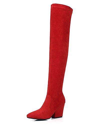 XZZ/ Damen-Stiefel-Büro / Kleid / Party & Festivität-Vlies / maßgeschneiderte Werkstoffe-Blockabsatz-Spitzschuh / Modische Stiefel-Schwarz / gray-us6.5-7 / eu37 / uk4.5-5 / cn37