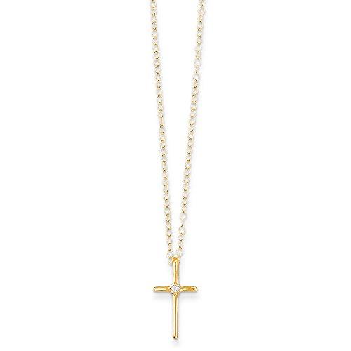 14K Madi K .01ct Diamond Cross Necklace