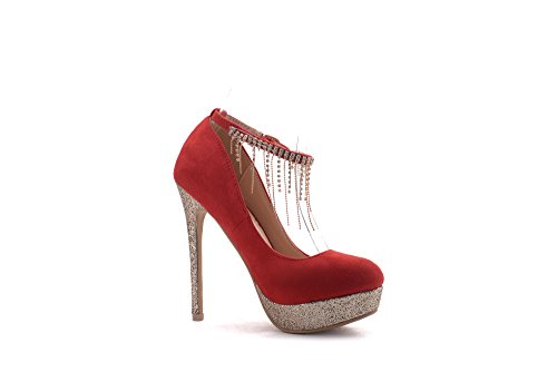 Ankle Lady High Embellished Mila Women Red Heel Shoes Party Rhinstone ELVA08 Fashion StrapDress Stilettos Pumps Sparkles Sexy OddwTfq