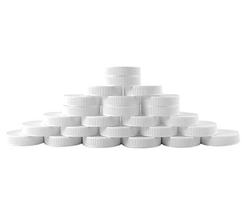 White Jar Pint - Regular Mouth Plastic Mason Jar Lids, Unlined (24-Pack); Standard Size 70-450 White Plastic Caps for Mason Jars