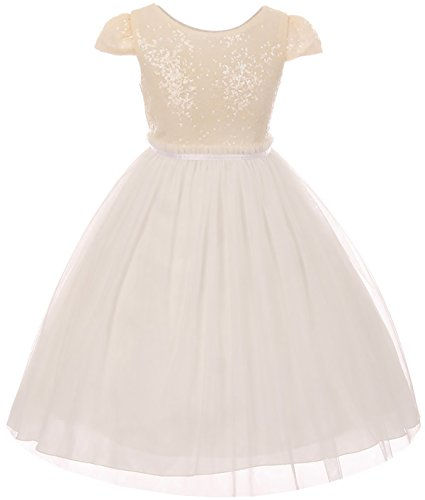 Little Girls Sequin Tulle Cap Sleeve Bridesmaid Party Birthday Flower Girl Dress Ivory Size 4 (K410D)]()