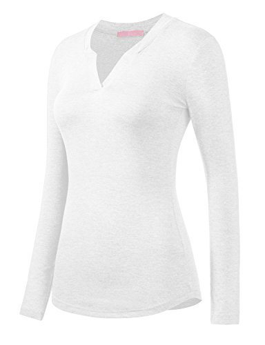 Regna X Love Coated Womens V Notch Neck Comfy Long Sleeve Staple Top (Boatneck Top)