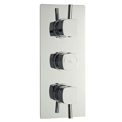 Hudson Reed - Kia/Jule - Triple Concealed Thermostatic Shower Faucet Valve with Built-in Diverter 3 Outlets In Chrome (Built Valve In Diverter)