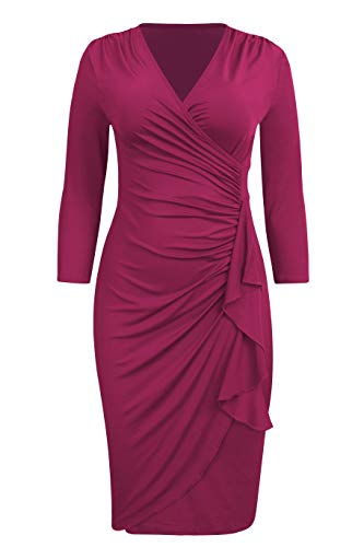 Rose Office Sleeve Dress Pencil 4 Midi VIUVIU 3 Ruched Neck Dresses Women V Wrap Work Ladies Red w0nwAqP1Z