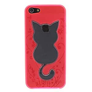 xiao Novelty Designed Transparent Cat Pattern TPU Soft Case iPhone 5 (Optional Colors) , Rose