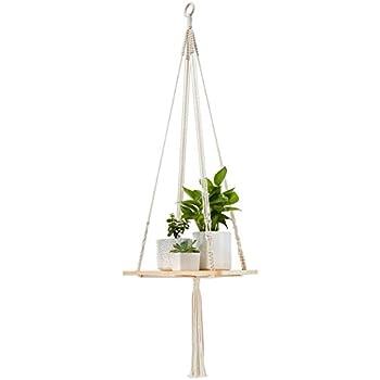 Mkono Macrame Shelf Hanging Planter Plant Hanger Home Decor 45 Inches