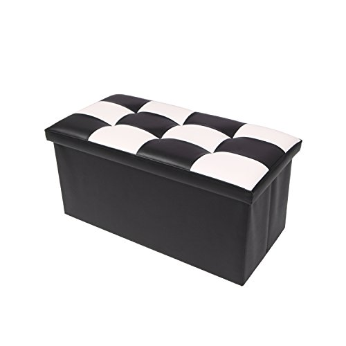 Ottoman Faux Leather/Folding Storage Bench/Living Footrest Seat Stool / Puppy Step , Holds Up to 660lbs ,30