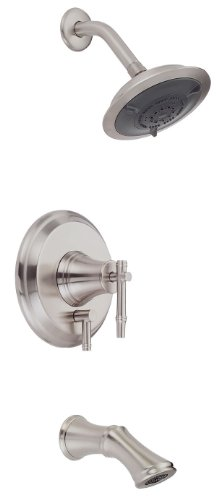 Danze D500045BNT South Sea Single Handle Tub and Shower Faucet Trim Kit with 6-Inch Showerhead, Brushed Nickel (Valve Not Included)