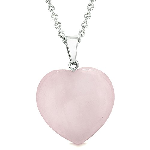 Lucky Puffy Heart Charm Crystal Rose Quartz Gemstone Love Powers Amulet Pendant 18 Inch Necklace -