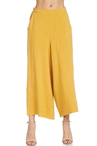 A+D Womens Casual Elastic Waist Band Wide Leg Crop Linen Pant