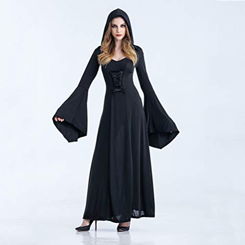 Costume Halloween Femme Xl (TIANMIAOTIAN Women Halloween Hooded Lace Up Patchwork Long Sleeve Long Maxi Dress Costume Femme Halloween Deguisement Plus)