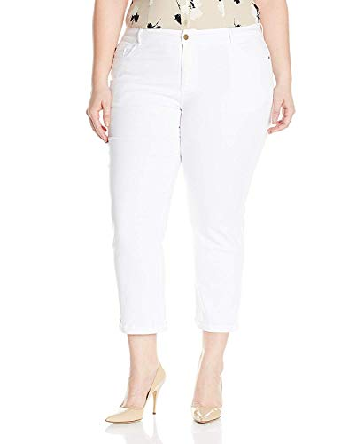 1826 Jeans / Sweet Look Womens Plus Size Twill Cotton Stretch Capri Pants Solid Colors (24, White)