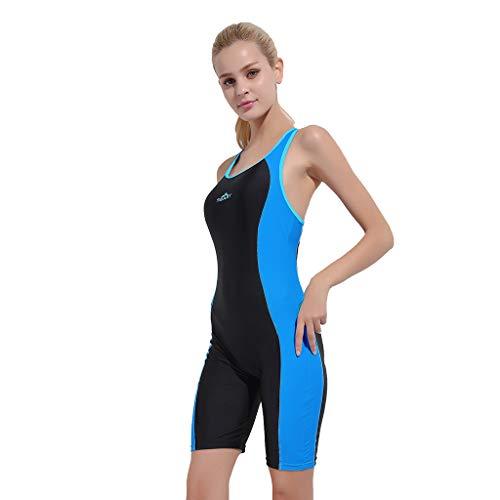 YEZIJIN Women Swimsuit Sexy One Piece Bodysuit Swimwear Professional Sport Bathing Suit Wetsuit top Long/Short Sleeve Blue by Yezijin_Swimsuit (Image #2)