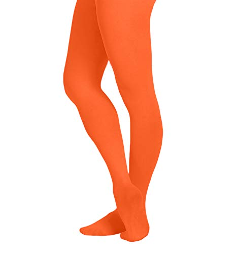 EMEM Apparel Women's Ladies Solid Colored Opaque Dance Ballet Costume Microfiber Footed Tights Stockings Fashion Neon Orange E