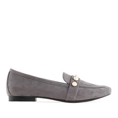 Loafer AM5300 Velourleder Grau 42 mit aus 45 Andres bis Velour Perlen EU Machado Applikation 5ESqWB