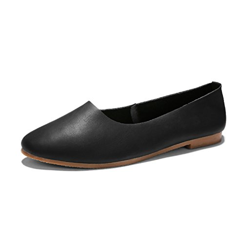 chaussures simples chaussures Arts Noir chaussures plates printemps Round Beige Chaussures Mouth femme Shallow femmes taille 39 rétro Grandma chaussures HWF Couleur 0vqXw