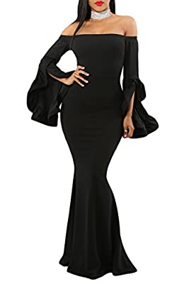GOSOPIN Women Evening Long Party Dress Off Shoulder Fishtail