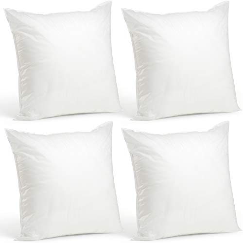 (Foamily Set of 4-20 x 20 Premium Hypoallergenic Stuffer Pillow Inserts Sham Square Form Polyester, 20