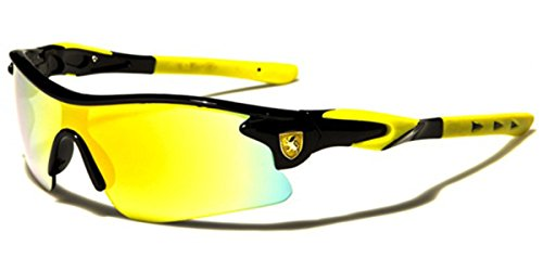 Half Frame Kids Teen Age 8-16 Performance Baseball Cycling Running Sport Sunglasses Color Mirrored Lens (Black/Yellow Tips)