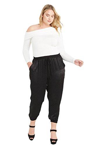 Women's High Waist Satin Pocket Sporty Jogger Plus Size Pants Black 3XL