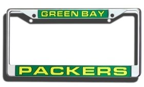 Green Bay Packers Laser Cut Chrome License Plate - Memorabilia Green