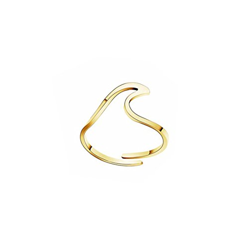JJTZX Stainless Steel Wave Design Adjustable Wave Ring Wave Ocean Sea Thumb Stackable Ring (Gold Wave)