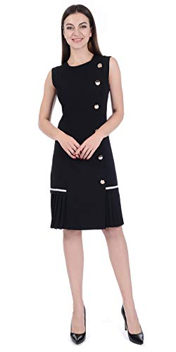 Women's Casual Work Office Wear Dresses, Elegant Spring A-Line Pleated Sheath Dress for Business Career Ladies (Black, XL) ()