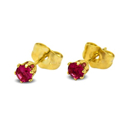 c7bb64b51 Blue Diamond Club - Tiny 9ct Yellow Gold Filled Womens Stud Earrings Girls  Round Small 4mm Ruby Red Crystals 6 Claws - Buy Online in UAE.