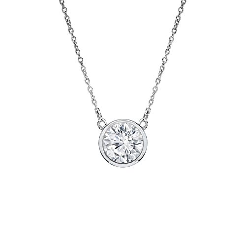 Diamond Wish 14k White Gold Round Diamond Solitaire Pendant Bezel-set (1/4 ct, Good, I1-I2) with adjustable 18