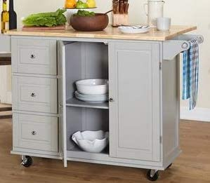 Amazon.com - Kitchen Islands With Storage - Grey Wood ...