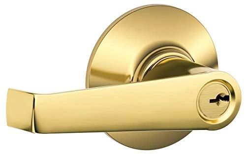 (Schlage F51-ELA Elan Keyed Entry F51A Panic Proof Door Lever, Polished Brass)