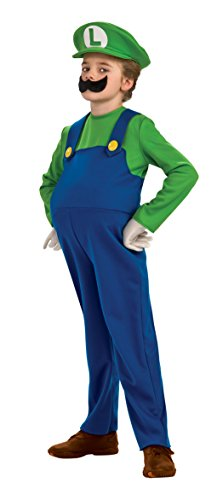Super Mario Luigi Deluxe Adult Costumes (Child size Super Mario Deluxe Luigi Costume - Large 12-14)