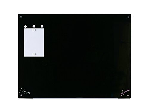 """Magnetic Black Glass Dry-Erase Board Set - 35 1/2"""" x 47 1/4"""" - Includes Board, 5 Magnets, and Aluminum Marker Tray"""