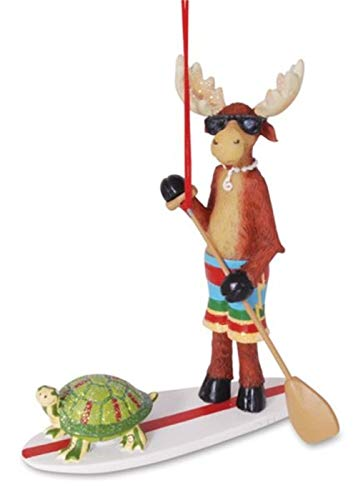 (Cool Dude Moose and Turtle on SUP Paddle Board Resin Hanging Ornament | Standup)