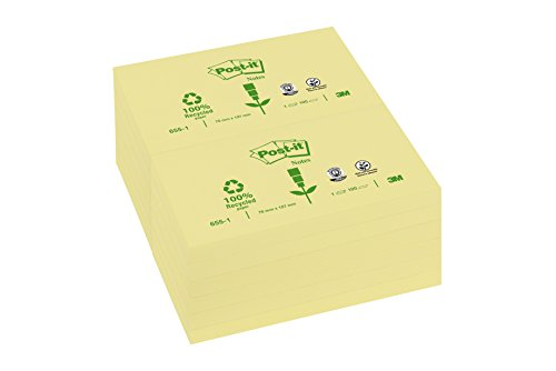 Post-it Recycled Notes - Canary Yellow -3 Blocks- 100 Sheets Per Pad - 76 mm x 127 - Yellow Notes Recycled