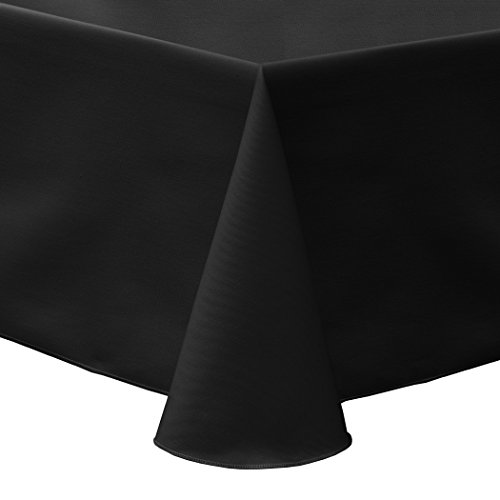 Ultimate Textile (10 Pack) Poly-cotton Twill 54 x 96-Inch Oval Tablecloth - for Home Dining Tables, Black by Ultimate Textile