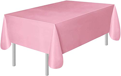 Pink Disposable Tablecloths (Occasions 6-Pack Pink Plastic Tablecloth | Plastic Table Cover | Disposable Tablecloths 54