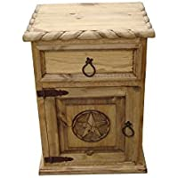 Mansion Rustic Nightstands with Star and Rope Free Shipping Honey Finish (Left Hinged)