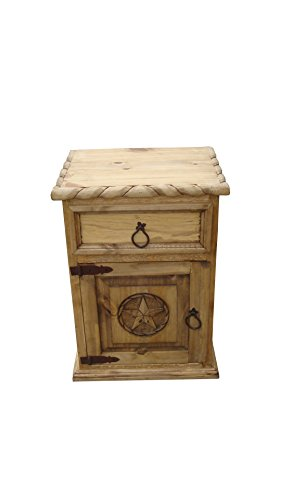 Pine Tall Dresser (Mansion Rustic Nightstands with Star and Rope Free Shipping Honey Finish (Left)