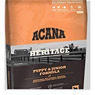 ACANA Heritage Puppy & Junior Dry Dog Food, 25 LB. Bag with Fresh Free-Run Turkey, Chicken, Wild-Caught Fish & NEST-Laid Eggs