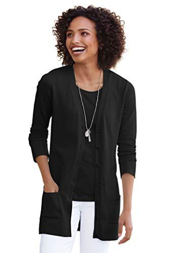 Chadwicks of Boston Long Length Boyfriend Cardigan Sweater   Womens Sweater Black