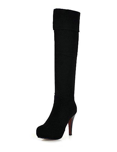 Eu36 Tacón Black De Eu39 Negro Zapatos Stiletto Uk4 Casual Plataforma Uk6 Xzz Vestido La Cn36 us8 Mujer A us6 Redonda Botas Black Cn39 Moda Vellón Punta qtpgUx1