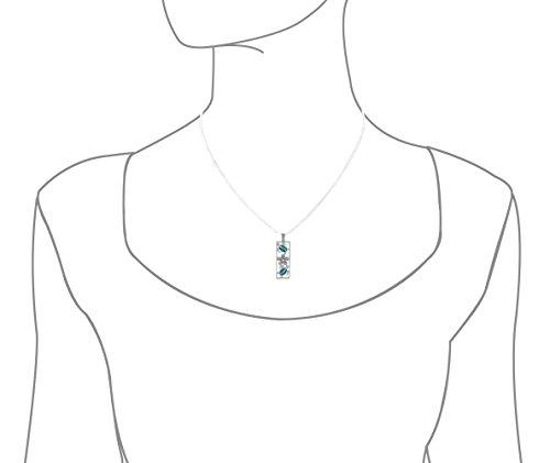 Argent sterling synthétique Opale bleue verticale Tortue et Plumeria Pendentif Collier, 45,7cm